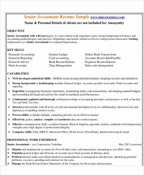 Senior Accountant Resume Sample Fresh 30 Accountant Resume Templates Pdf Doc