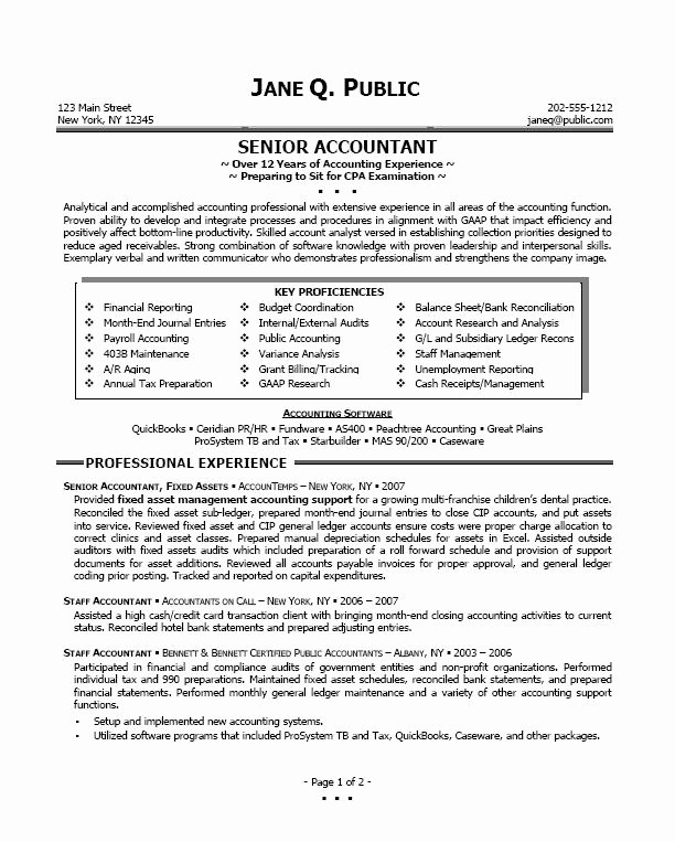 Senior Accountant Resume Sample Fresh Resume Sample Professional Resume Sample