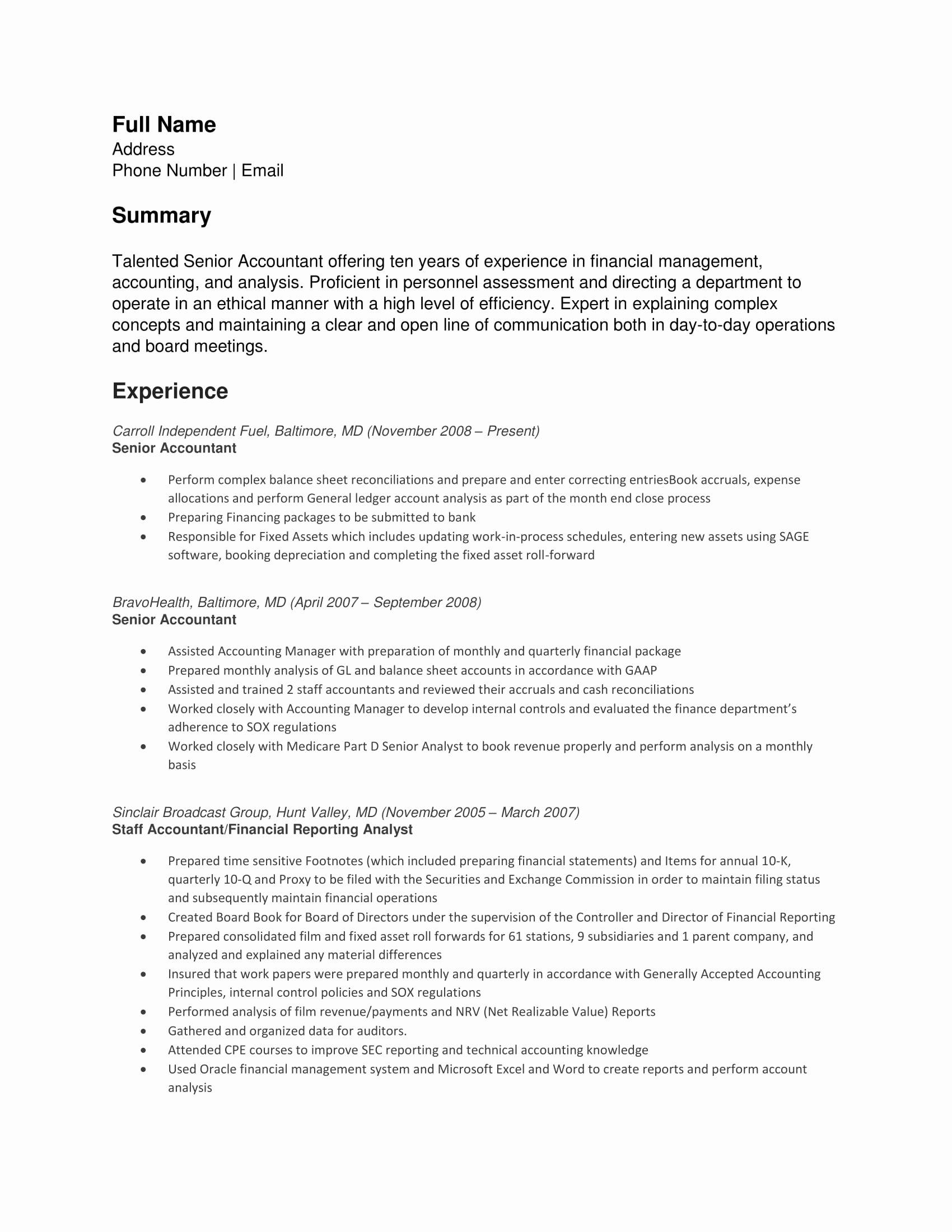 Senior Accountant Resume Sample Lovely 24 Best Finance Resume Sample Templates Wisestep
