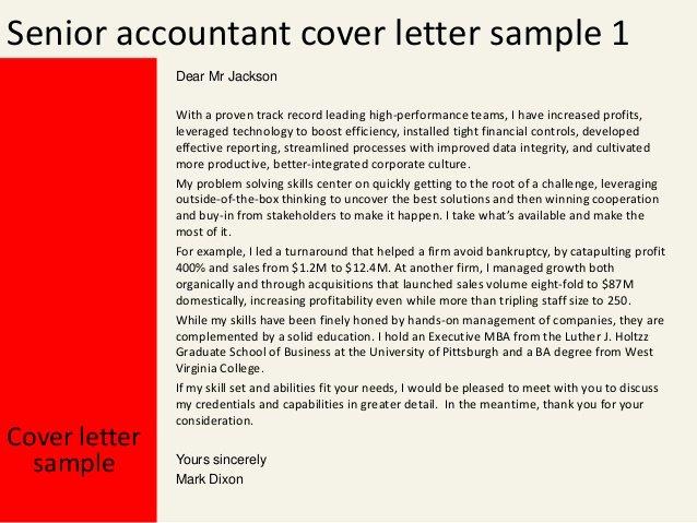 Senior Accountant Resume Sample Lovely Senior Accountant Cover Letter