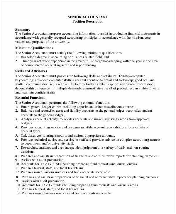 Senior Accountant Resume Sample Luxury Sample Accounting Job Description 8 Examples In Pdf