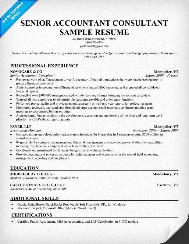 Senior Accountant Resume Sample New Senior Accountant Consultant Resume Samples Across All Industries Pinterest