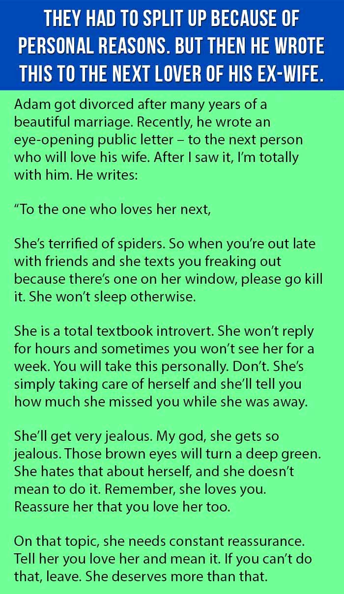 Separation Letter to Husband Elegant Ex Husband Writes the Best Letter Ever to the Next Man who Will Love His Ex Wife This is