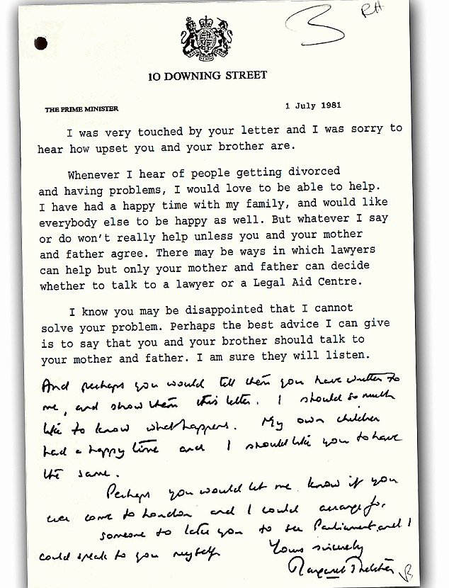 Separation Letter to Husband Fresh Margaret thatcher S touching Letter Offering Personal Meeting to Girl Hit by Parents Divorce