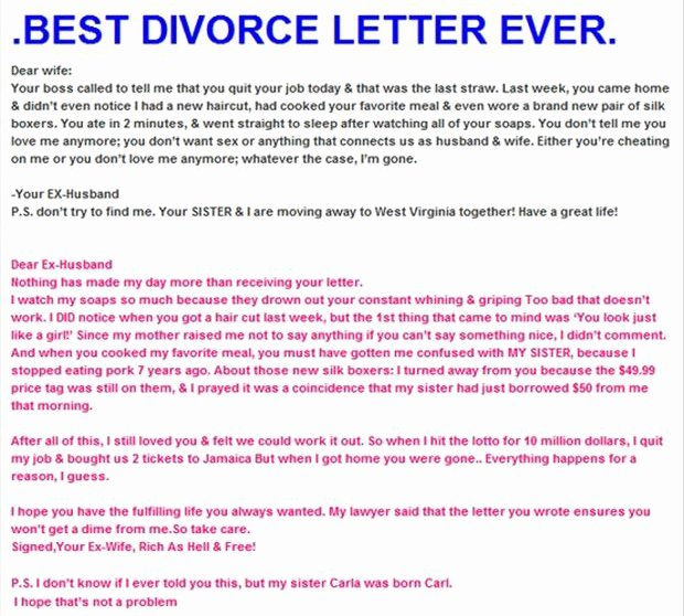 Separation Letter to Husband Fresh Z Best Divorce Letter Ever Dump A Day
