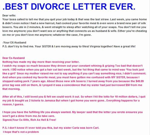 Separation Letter to Husband Fresh Z Best Divorce Letter Ever Dump A Day
