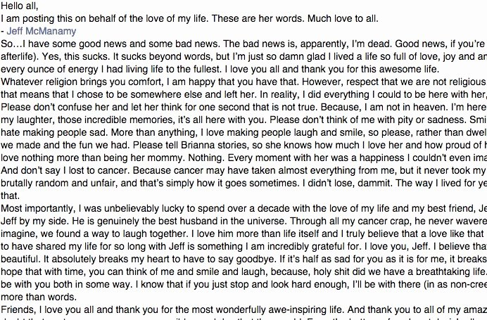 husband posts his wifes goodbye letter to after her