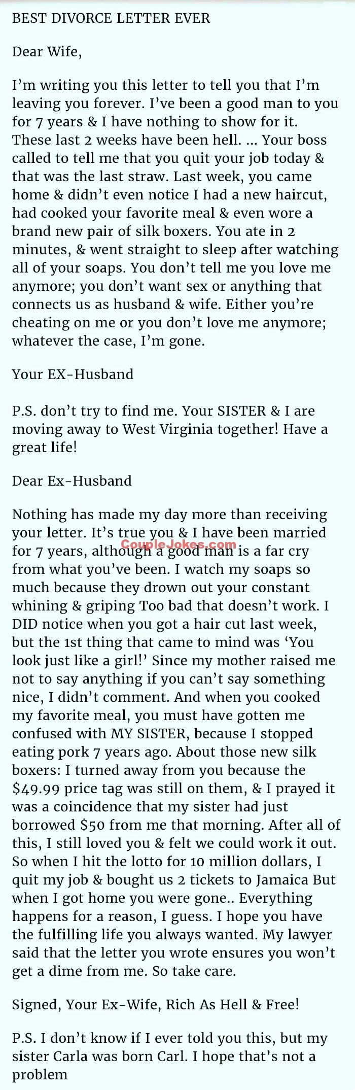 Separation Letter to Husband Lovely This Man Cheated On His Wife & Blamed Her for It but Her Response is Priceless