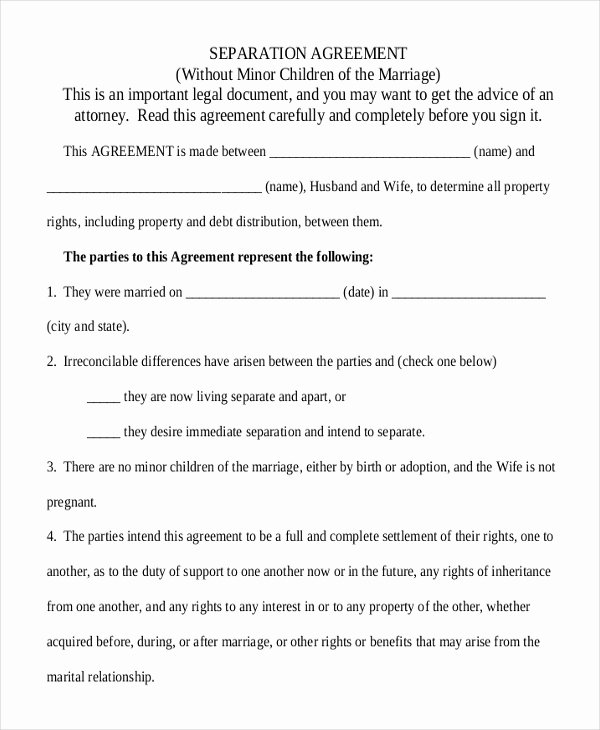 Separation Letter to Husband New 17 Agreement Templates Free Sample Example format