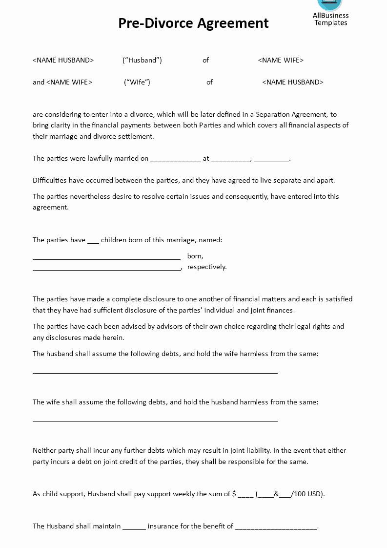Separation Letter to Husband New Pre Divorce Agreement