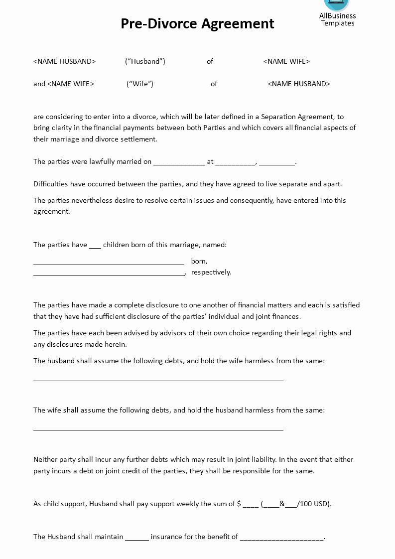 Separation Letter to Husband New Pre Divorce Agreement