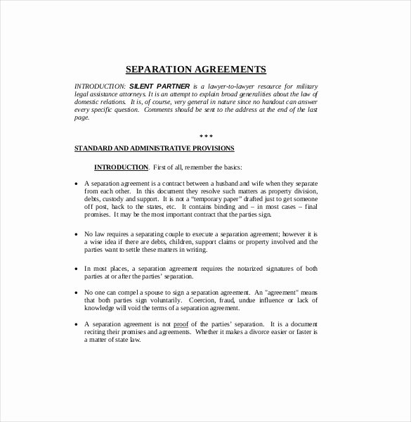 Separation Letter to Husband Unique Separation Agreement Template – 14 Free Word Pdf Document Download