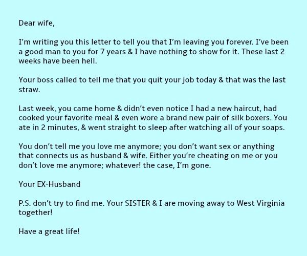 Separation Letter to Husband Unique Wife S Perfect Response to Husband S Letter Demanding Divorce
