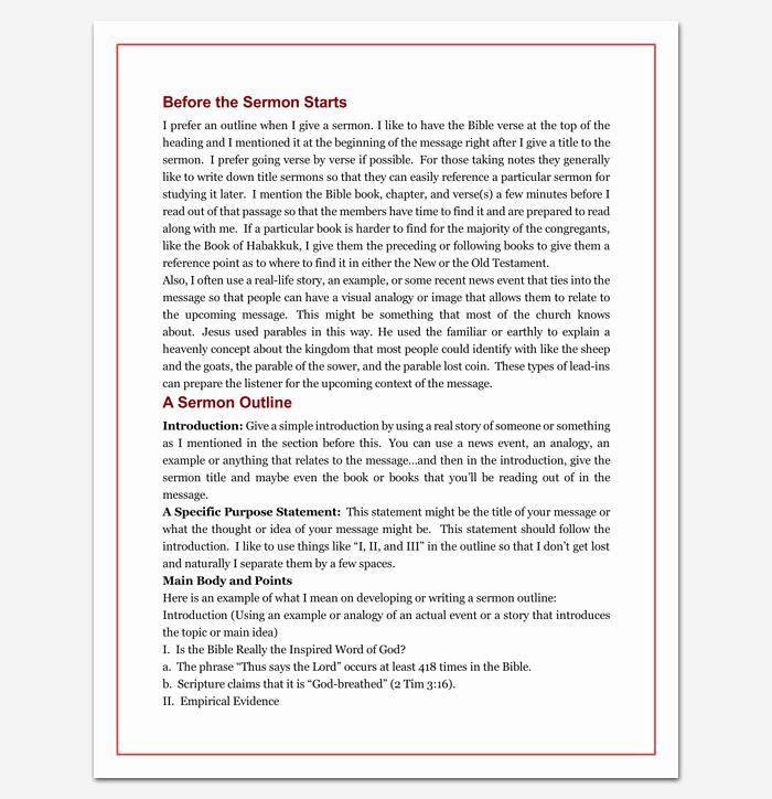 Sermon Outline Template Microsoft Word Elegant Sermon Outline Template 12 for Word and Pdf format