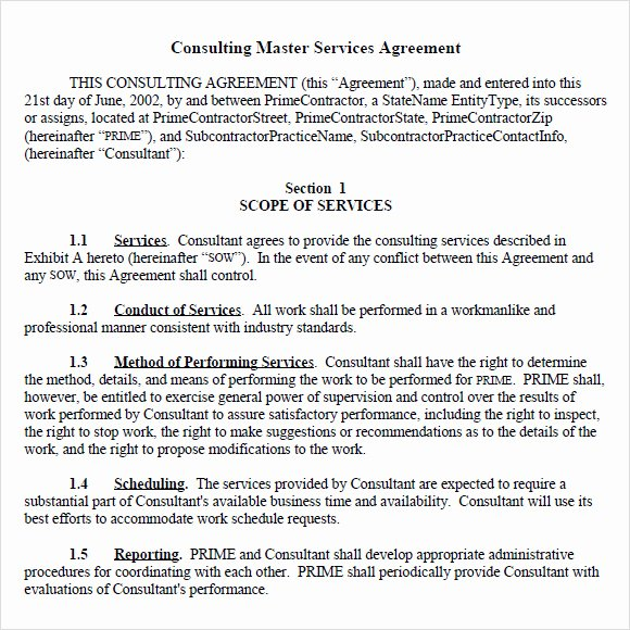 Service Agreement Template Doc Elegant Sample Master Service Agreement 8 Documents In Pdf Word