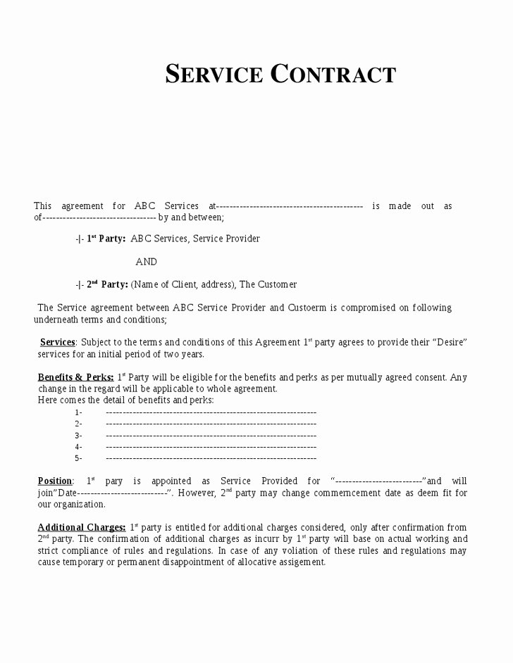 Service Agreement Template Doc Inspirational Service Contract Template
