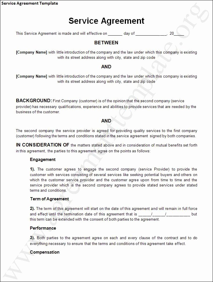 Service Agreement Template Doc Luxury Agreement Template Category Page 1 Efoza