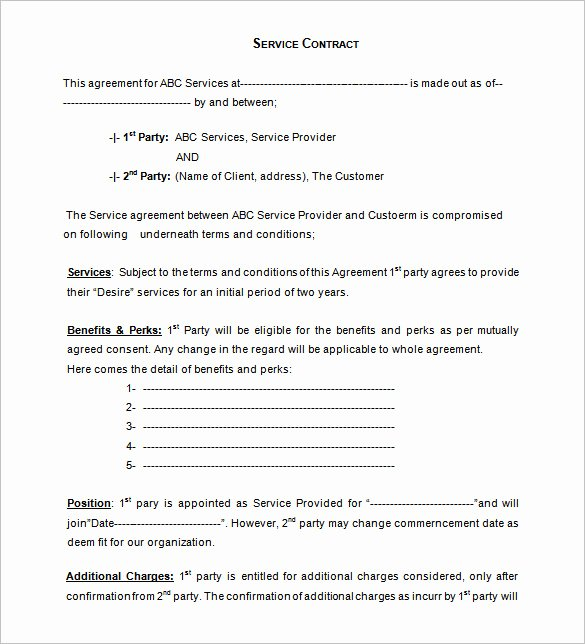 Service Agreement Template Doc Unique Service Contract Agreement