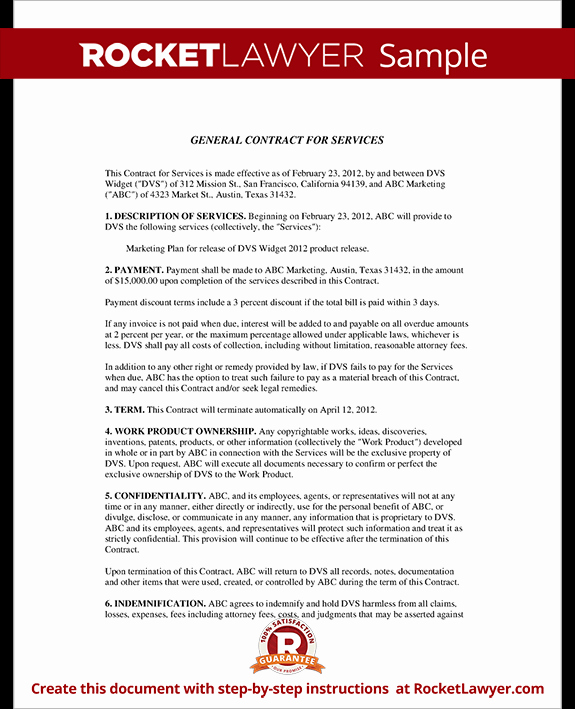 Service Contract Template Doc Lovely General Contract for Services form Template with Sample