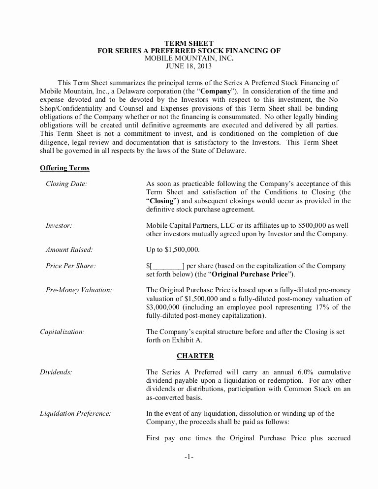 Service Contract Template Doc Luxury Sample Term Sheet