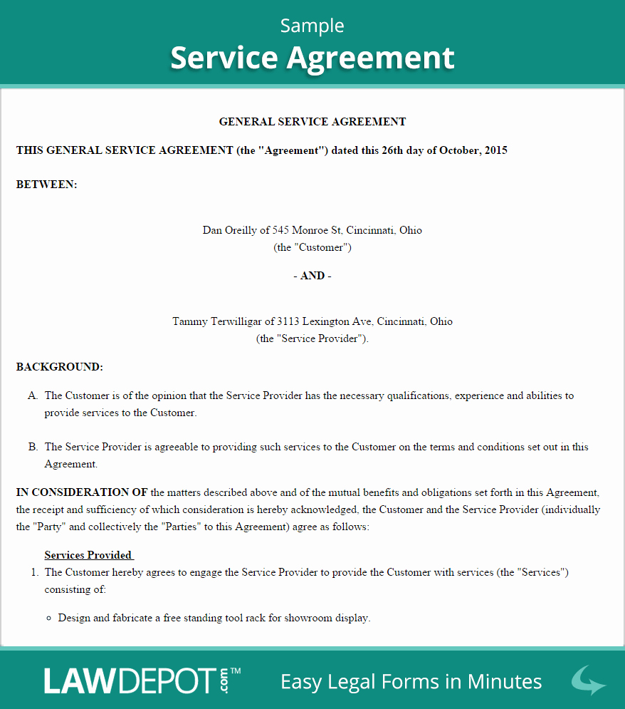 Service Contract Template Doc New Free Service Agreement Create Download and Print
