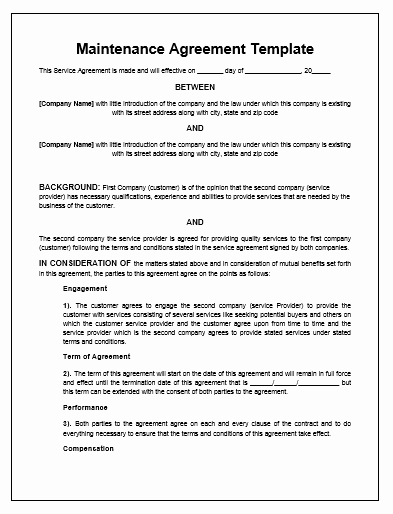 Service Contract Template Doc New Maintenance Agreement Template