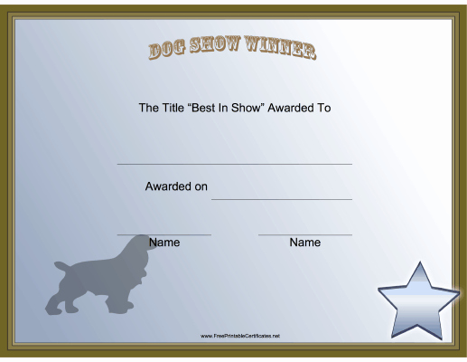 Service Dog Certificate Pdf Fresh This Printable Certificate Honors the Winner In the Best Of Show Category at A Dog Show Free to