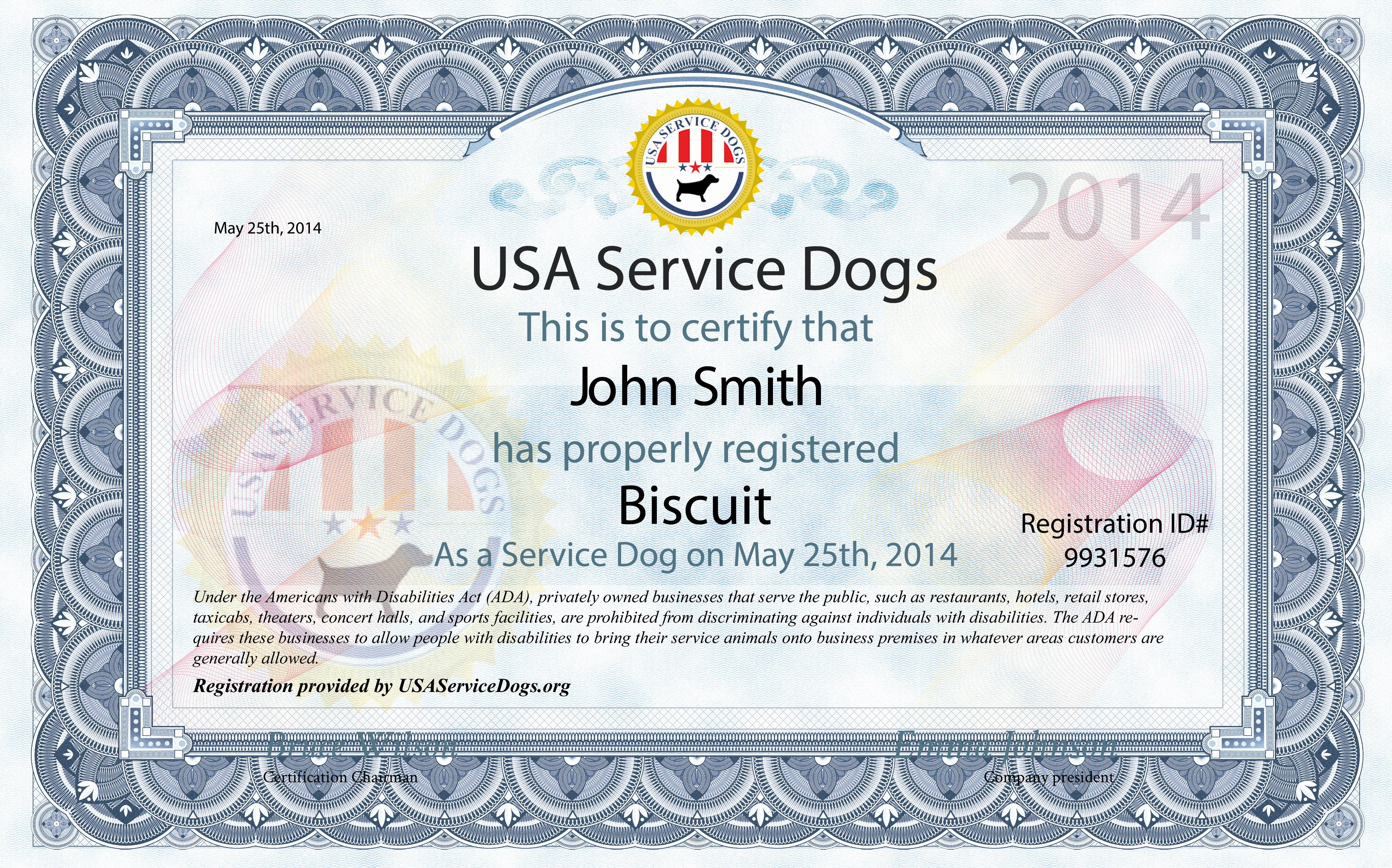Service Dog Certificate Pdf Unique Usa Service Dogs order Service Dog Kit