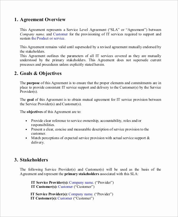 Service Level Agreement Pdf Awesome Sample Service Level Agreement 13 Examples In Word Pdf