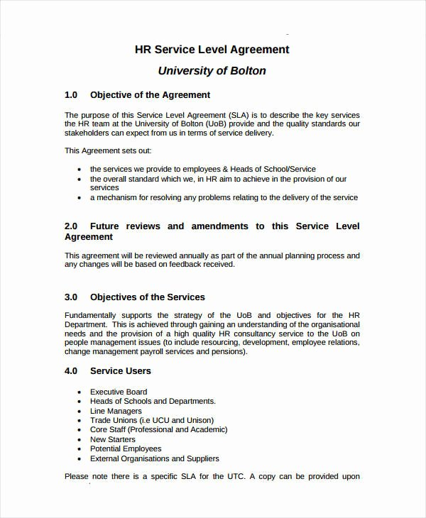Service Level Agreement Pdf Best Of Template Gallery Page 2