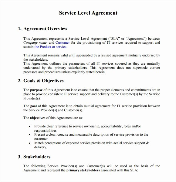 Service Level Agreement Pdf Inspirational 18 Service Level Agreement Samples Word Pdf