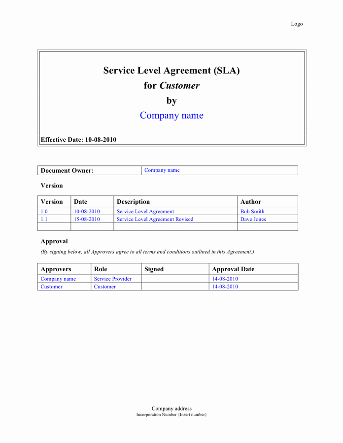 Service Level Agreement Pdf Luxury Service Level Agreement Sla Template In Word and Pdf formats
