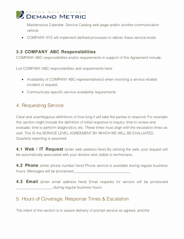 Service Level Agreement Pdf Luxury Service Level Agreement Template