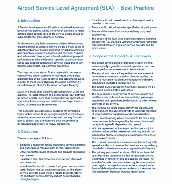 Service Level Agreement Pdf New 19 Service Level Agreement Examples Doc Pdf
