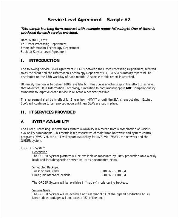 Service Level Agreement Pdf Unique Sample Service Level Agreement 13 Examples In Word Pdf