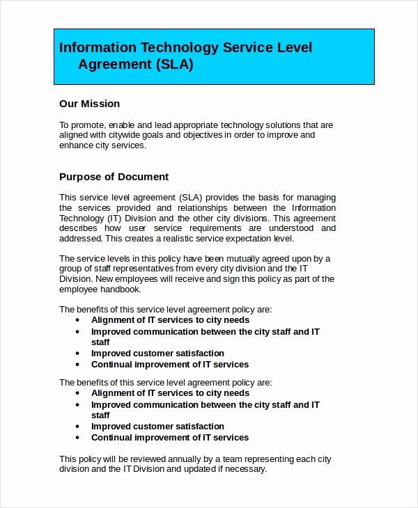 Service Level Agreement Pdf Unique Service Level Agreement 22 Free Pdf Word Psd Documents Download