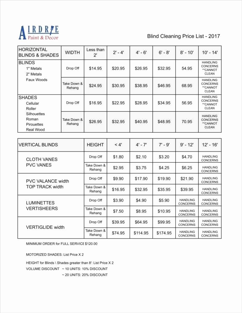 Services Price List Template Best Of 8 Cleaning Price List Templates Free Word Pdf Excel format Download