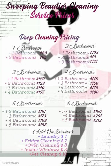 Services Price List Template Luxury Pricing – Sweeping Beauties Cleaning Service
