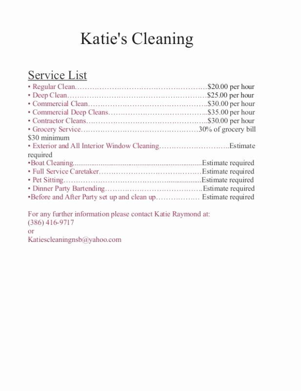 Services Price List Template New Cleaning Services Price List Template