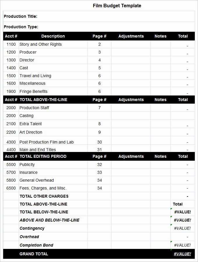 Short Film Budget Template Awesome 9 Bud Templates Word Excel Pdf