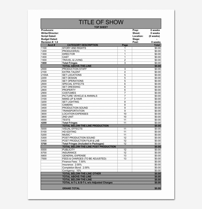 Short Film Budget Template Beautiful Bud Template 10 for Excel Sheet & Pdf format