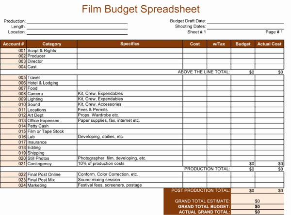 Short Film Budget Template Fresh Bud Template for Excel 5 Spreadsheets