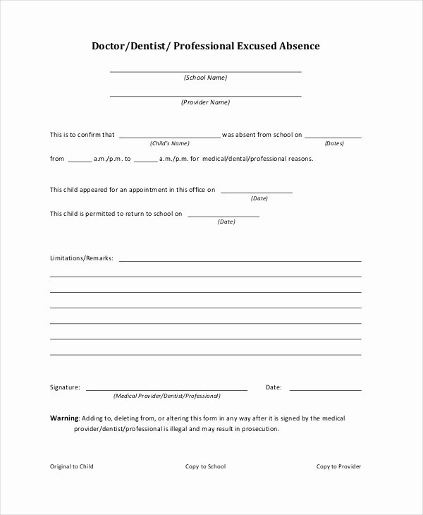 Sick Note for School Example Luxury Doctors Note Template for School 6 Free Word Pdf