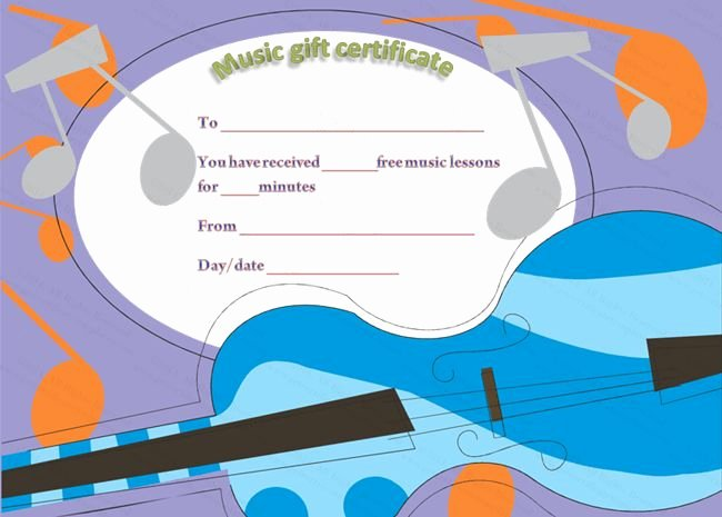 Silent Auction Certificate Template Awesome Free Music Lessons Gift Certificate Template
