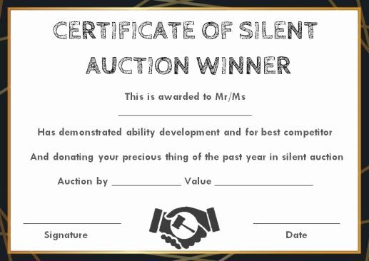 Silent Auction Certificate Template Awesome Silent Auction Winner Certificate Template Explore Best Templates In Word and Pdf Documents