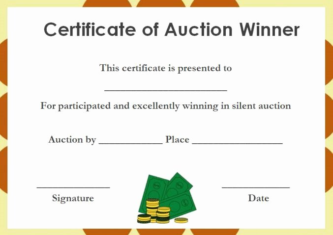 Silent Auction Certificate Template Beautiful Silent Auction Winner Certificate Silent Auction Certificates