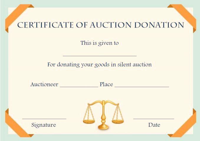 Silent Auction Certificate Template Best Of Silent Auction Donation Certificate Template Silent Auction Certificates