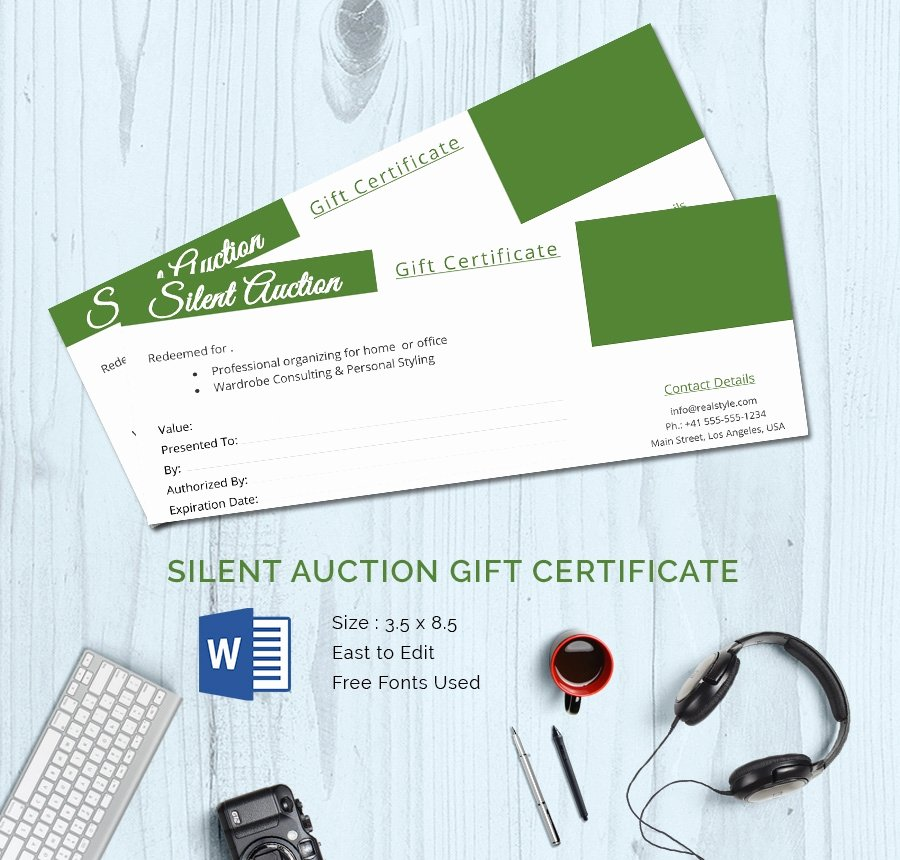 Silent Auction Certificate Template Fresh 15 Certificate Templates