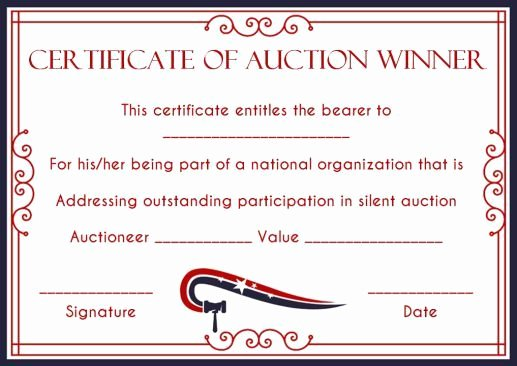 Silent Auction Certificate Template Luxury Silent Auction Winner Certificate Template Explore Best Templates In Word and Pdf Documents