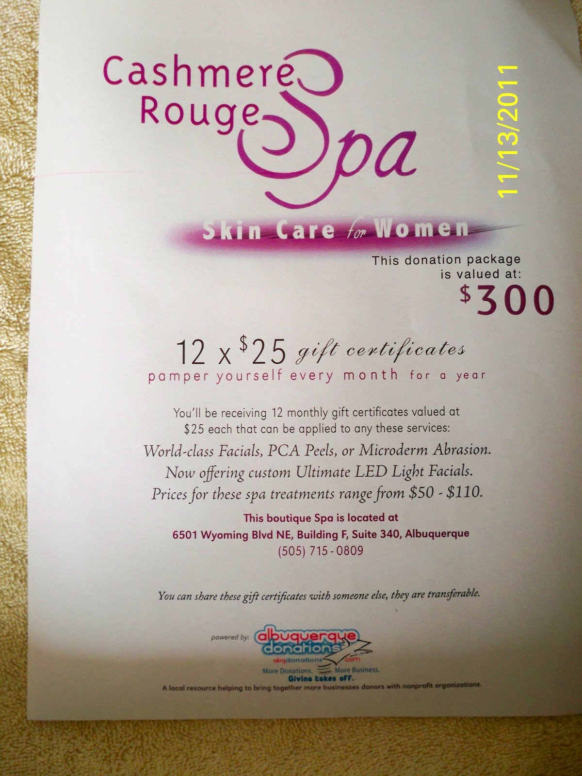 Silent Auction Gift Certificate Template Beautiful Relentless for A Cure Silent Auction Cashmere Rouge Spa $250 Gift Certificates